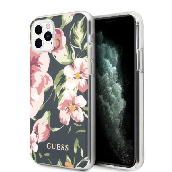 Guess Flower Shiny Collection N3 - Etui iPhone 11 Pro (Navy)