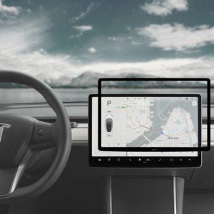 Moshi iVisor AG - Matowa folia ochronna na ekran konsoli centralnej Tesla Model 3 (Black/Clear Matte)