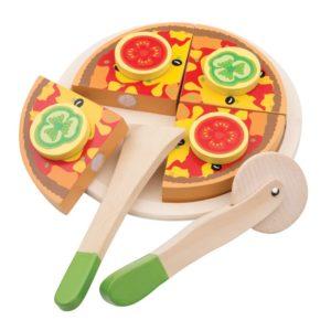 New Classic Toys - Drewniana pizza z warzywami do krojenia