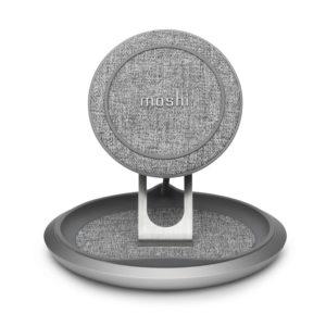 Moshi Lounge Q Wireless Charging Stand – Bezprzewodowa ładowarka indukcyjna Qi do iPhone i Android 15W (Nordic Gray)