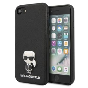 Karl Lagerfeld Saffiano with Pin Ikonik - Etui iPhone SE 2020 / 8 / 7 (Black)