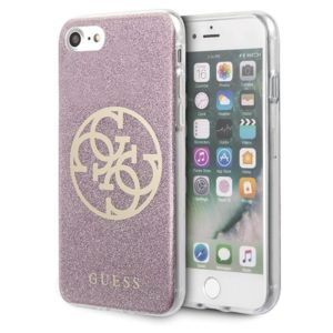 Guess Circle Glitter 4G - Etui iPhone SE 2020 / 8 / 7 (różowy)