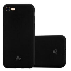 Crong Soft Skin Cover - Zestaw etui iPhone SE 2020 / 8 / 7 (czarny) + szkło hybrydowe 9H (biała ramka)