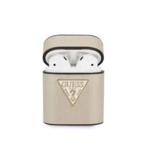 Guess Saffiano - Etui Airpods (beżowy)