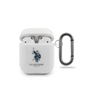 US Polo Assn Double Horse Logo - Etui Apple Airpods (biały)