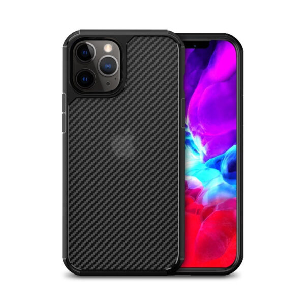 Crong Hybrid Carbon - Etui iPhone 12 / iPhone 12 Pro (czarny)