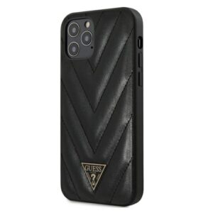 Guess V Quilted - Etui iPhone 12 / iPhone 12 Pro (czarny)