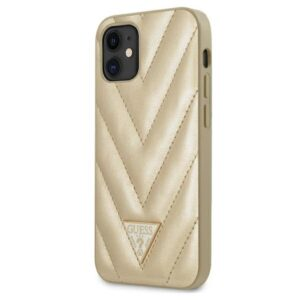 Guess V Quilted - Etui iPhone 12 mini (złoty)