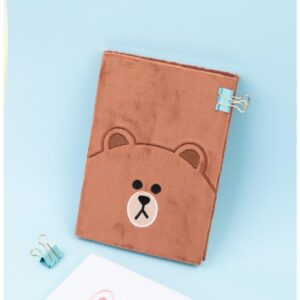 Line Friends - Pluszowy Notes / Notatnik A5 Miś Brown