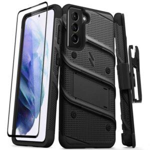 Zizo Bolt Cover - Pancerne etui Samsung Galaxy S21 5G ze szkłem 9H na ekran + podstawka & uchwyt do paska (czarny)