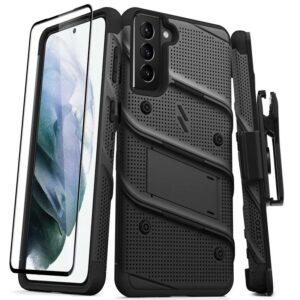 Zizo Bolt Cover - Pancerne etui Samsung Galaxy S21+ 5G ze szkłem 9H na ekran + podstawka & uchwyt do paska (czarny)