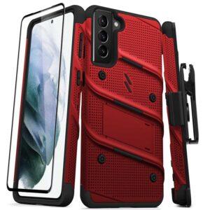 Zizo Bolt Cover - Pancerne etui Samsung Galaxy S21+ 5G ze szkłem 9H na ekran + podstawka & uchwyt do paska (czerwony/czarny)