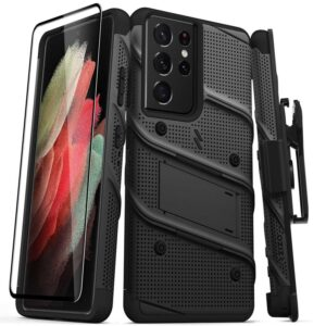 Zizo Bolt Cover - Pancerne etui Samsung Galaxy S21 Ultra 5G ze szkłem 9H na ekran + podstawka & uchwyt do paska (czarny)