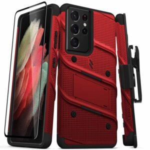 Zizo Bolt Cover - Pancerne etui Samsung Galaxy S21 Ultra 5G ze szkłem 9H na ekran + podstawka & uchwyt do paska (czerwony/czarny)