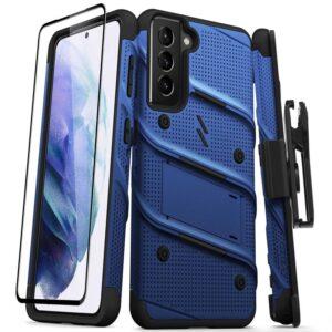 Zizo Bolt Cover - Pancerne etui Samsung Galaxy S21 5G ze szkłem 9H na ekran + podstawka & uchwyt do paska (niebieski/czarny)