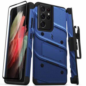 Zizo Bolt Cover - Pancerne etui Samsung Galaxy S21 Ultra 5G ze szkłem 9H na ekran + podstawka & uchwyt do paska (niebieski/czarny)