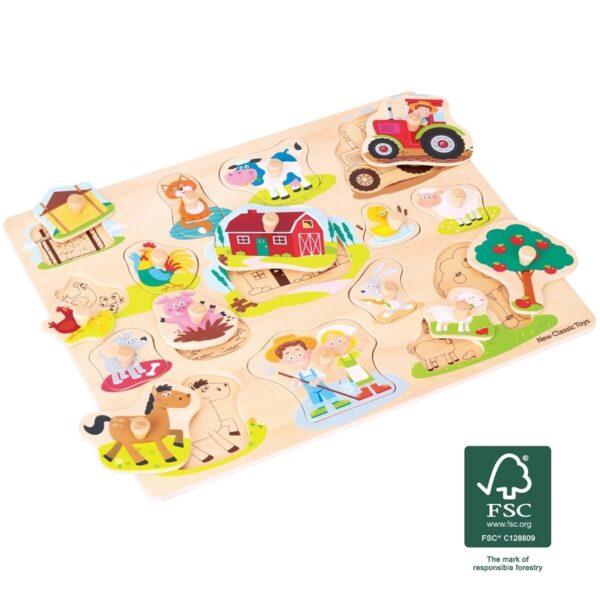New Classic Toys - Drewniane Puzzle Farma (16 elementów)