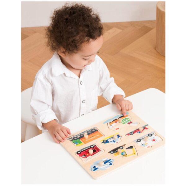 New Classic Toys - Drewniane Puzzle Pojazdy (8 elementów)