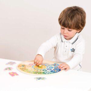 New Classic Toys - Drewniany zegar edukacyjny