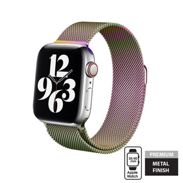 Crong Milano Steel - Pasek ze stali nierdzewnej do Apple Watch 38/40 mm (opalizujący)