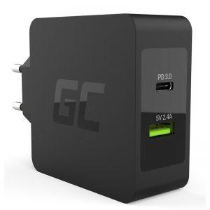 Green Cell - Ładowarka USB-C 45W PD z przewodem USB-C i dodatkowym portem USB