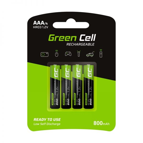 Green Cell - 4x Akumulator AAA HR03 800mAh