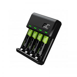 Green Cell VitalCharger - Ładowarka do akumulatorów + 4x Baterie Akumulatorki AAA / HR03 800mAh