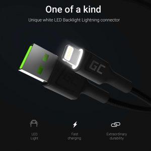 Green Cell Ray - Kabel Przewód USB - Lightning 120cm z białym podświetleniem LED