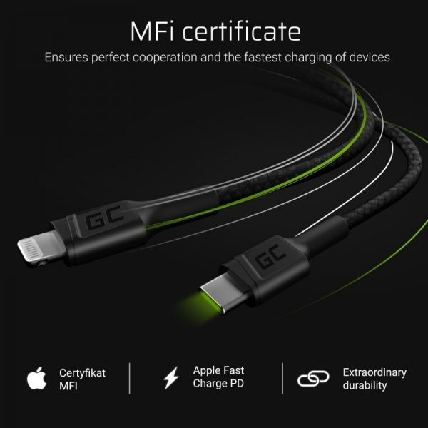 Green Cell Power Stream - Kabel Przewód USB-C - Lightning 100 cm ze wsparciem Power Delivery (Apple MFi Certified)