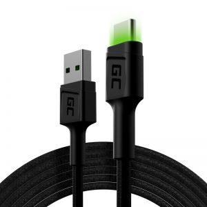 Green Cell Ray - Kabel Przewód USB - USB-C 200cm z zielonym podświetleniem LED
