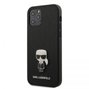 Karl Lagerfeld Saffiano with Pin Ikonik - Etui iPhone 12 / iPhone 12 Pro (czarny)