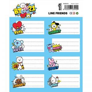 Line Friends BT21 - Zestaw 16 naklejek na zeszyty / książki