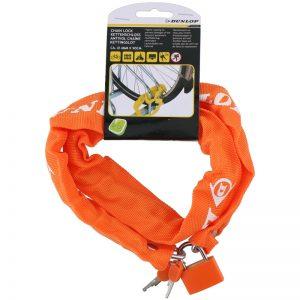 Dunlop - Antykradzieżowe zapięcie rowerowe 90 cm (Pomarańczowy)