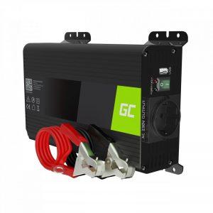 Green Cell - Przetwornica napięcia Inwerter 12V na 230V 300W/600W Czysta sinusoida