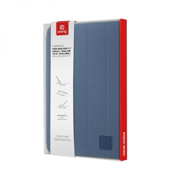 "Crong FlexFolio – Etui iPad Pro 11"" (2021) / iPad Air 10.9"" z funkcją Apple Pencil (niebieski)"