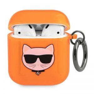 Karl Lagerfeld Choupette Head - Etui Airpods (fluo pomarańczowy)
