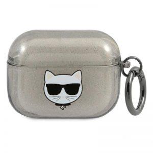 Karl Lagerfeld Choupette Head Glitter - Etui Airpods Pro (czarny)